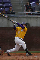 East Carolina University Pirates outfielder Ben Fultz #1 at bat during a game against the Stony Brook Seawolves  at Clark-LeClair Stadium on March 4, 2012 in Greenville, NC.  East Carolina defeated Stony Brook 4-3. (Robert Gurganus/Four Seam Images)