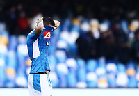 9th February 2020; Stadio San Paolo, Naples, Campania, Italy; Serie A Football, Napoli versus Lecce; Nikola Maksimovic of Napoli thanks the fans for their support