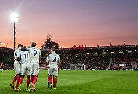 teammates celebrate with goalscorer Demarai Gray (11) (Leicester City) of England U21 during the UEFA EURO U-21 First qualifying round International match between England 21 and Latvia U21 at the Goldsands Stadium, Bournemouth, England on 5 September 2017. Photo by Andy Rowland.