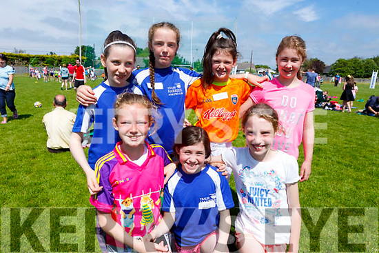 Taking part in the St. Brendan's A.C. Open Sports Day in Ardfert on Monday.<br /> Kneeling L to r: Emma Neylon (Listowel AC) , Lucy Mulgrew and Coimhe Murphy  (Tralee Harriers).<br /> Standing L to r: Ciara Gallagher, Laura Falvey and Alannah Kennane  (Tralee Harriers) and Stephanie Reid of An Riocht.