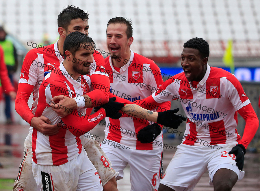 Fudbal Jelen Super League season 2015-2016<br /> Crvena Zvezda v Vozdovac<br /> Hugo Oliveira Vieira (C) celebrate the goal with the Mitchell Donald (R)  Marko Grujic and Vukasin Jovanovic<br /> Beograd, 28.11.2015.<br /> foto: Srdjan Stevanovic/Starsportphoto&copy;