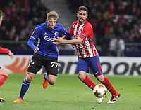 Copenhague's player Viktor Fischer; Atletico Madrid's Spanish midfielder Koke