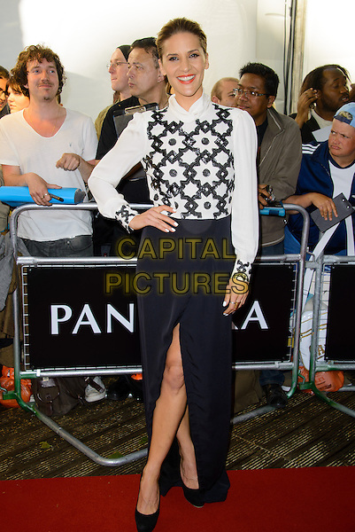 Amanda Byram<br /> The Glamour Women Of The Year Awards 2013, Berkeley Square Gardens, London, England.<br /> June 4th, 2013<br /> full length black white pattern blouse skirt slit split hand on hip beads beaded <br /> CAP/CJ<br /> &copy;Chris Joseph/Capital Pictures