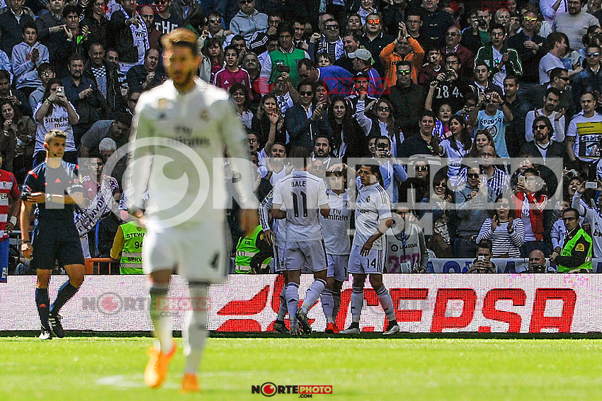Real Madrid´s players celebrates a goal during 2014-15 La Liga match between Real Madrid and Granada at Santiago Bernabeu stadium in Madrid, Spain. April 05, 2015. (ALTERPHOTOS/Luis Fernandez) /NORTEphoto.com