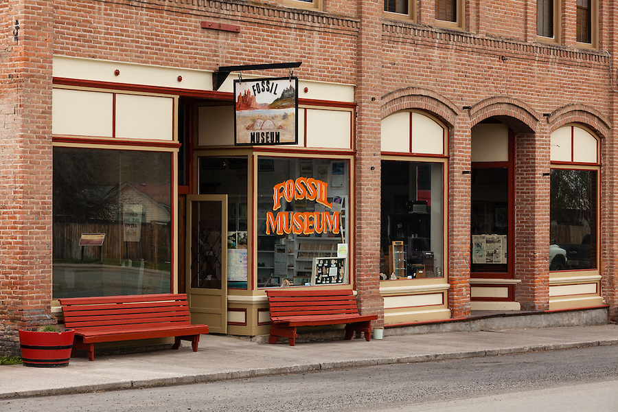 The fossil museum is seen in the city of Fossil, Oregon in Wheeler County.