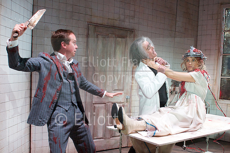 Grand Guignol<br /> by Richard J Hand &amp; Michael Wilson <br /> directed by Simon Stokes <br /> at Southwark Playhouse, London, Great Britain <br /> press photocall<br /> 24th October 2014 <br /> <br /> <br /> <br /> Paul Chquer as Ratineau<br /> <br /> Robert Portal as Paulais<br /> <br /> Emily Raymond as Maxa<br /> <br /> <br /> <br /> <br /> Photograph by Elliott Franks <br /> Image licensed to Elliott Franks Photography Services