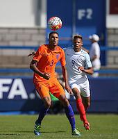 Daniljo Doekhl (Ajax) of Holland keeps eyes on the ball during the International match between England U19 and Netherlands U19 at New Bucks Head, Telford, England on 1 September 2016. Photo by Andy Rowland.