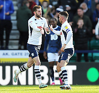 Preston North End's Tom Barkhuizen (left) celebrates with team-mate Alan Browne after scoring his sides first goal<br /> <br /> Photographer Rich Linley/CameraSport<br /> <br /> The EFL Sky Bet Championship - Preston North End v Blackburn Rovers - Saturday 26th October 2019 - Deepdale Stadium - Preston<br /> <br /> World Copyright © 2019 CameraSport. All rights reserved. 43 Linden Ave. Countesthorpe. Leicester. England. LE8 5PG - Tel: +44 (0) 116 277 4147 - admin@camerasport.com - www.camerasport.com