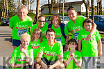 Fair City actor with some of his fans at the Fossa NS 10k road race on Friday evening front row l-r: Catherine McCarthy, Zara McCarthy, Sophia McCarthy. Back: Mick Stines, Shona Daly, Eileen hayes, Teresa Wharton and Nikitz Wharton