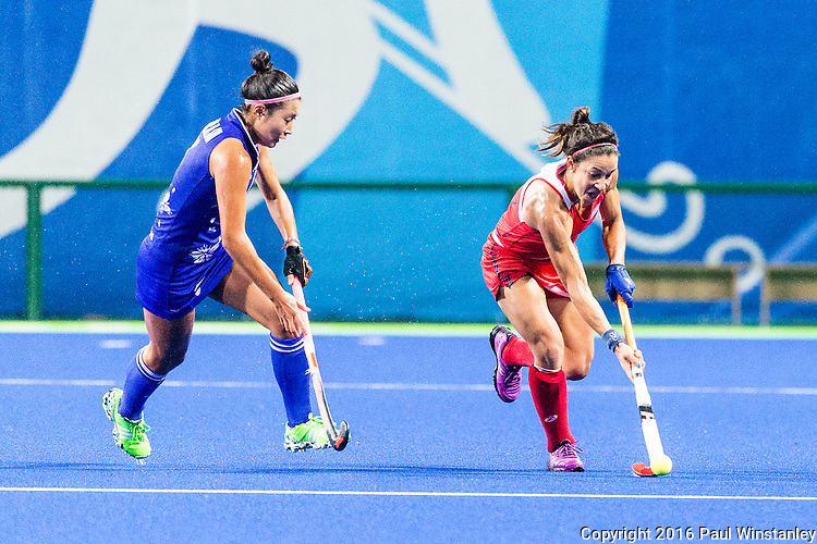 Melissa Gonzalez #5 of United States carries the ball during USA vs Japan in a Pool B game at the Rio 2016 Olympics at the Olympic Hockey Centre in Rio de Janeiro, Brazil.