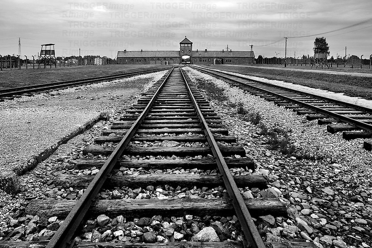 Train rails at the entry of the Auswitch-Birkenau concentration camp
