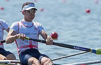 Brandenburg. GERMANY.<br /> GBR LM2-,  Sam SCRIMGEOUR, at the start of their heat. 2016 European Rowing Championships at the Regattastrecke Beetzsee<br /> <br /> Friday  06/05/2016<br /> <br /> [Mandatory Credit; Peter SPURRIER/Intersport-images]