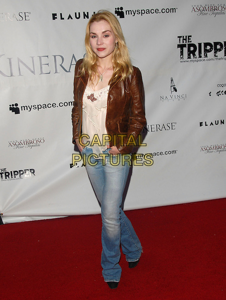 RACHEL MINER.Attends The Tripper Premiere held at The Hollywood Forever Cemetary in Hollywood, California, USA..April 11th, 2007.full length jeans denim brown leather jacket .CAP/DVS.©Debbie VanStory/Capital Pictures