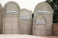 Tombstones at Radegast Station with the names of the death camps where 200,000 Jews and gypsies were sent.  Lodz Central Poland