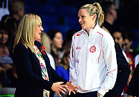 England coach Tracey Neville (left) with injured goalshoot Jo Harten after the Quad Series netball match between the New Zealand Silver Ferns and England Roses at Trusts Stadium, Auckland, New Zealand on Wednesday, 30 August 2017. Photo: Dave Lintott / lintottphoto.co.nz