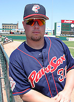 July 14, 2003:  Catcher Andy Dominique of the Pawtucket Red Sox, Class-AAA affiliate of the Boston Red Sox, during a International League game at Frontier Field in Rochester, NY.  Photo by:  Mike Janes/Four Seam Images