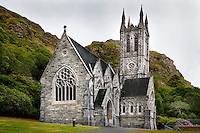 "General view of the Gothic Church of Kylemore Abbey, 1877-81, by James Franklin Fuller, Connemara, Ireland, in the evening. Designed to be a ""cathedral in miniature"" the  Gothic style Church was built by Mitchell Henry in the memory of his wife. Picture by Manuel Cohen"