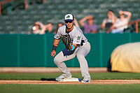 Vermont Lake Monsters first baseman Aaron Arruda (27) waits to receive a pick off throw during a game against the Tri-City ValleyCats on June 16, 2018 at Joseph L. Bruno Stadium in Troy, New York.  Vermont defeated Tri-City 6-2.  (Mike Janes/Four Seam Images)