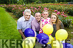 Rose of Tralee Elysha Brennan will take to the sky in a hot air balloon on Sunday of the Rose of Tralee festival and balloons will also be release with her to raise funds for the Kerry Palliative Care in patient unit. The event is in memory of Helen O'Connor, pictured are Helen's husband and children, Kevin Roche, Ciara Marie O'Connor Roche and Carrie O'Connor, on left of photo is Ted Moynihan, Kerry Palliative Care.