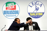 Berlusconi, dries jokingly the sweat from Matteo Salvini's face while he's saying that he's tired.<br /> Silvio Berlusconi asciuga scherzosamente la fronte di Matteo Salvini<br /> Roma 01/03/2018. Incontro dei leader della coalizione di centrodestra.<br /> Rome March 01st 2018. Meeting of the leaders of the centre-right coalition at the next political elections in Italy, that will take place on March 4th. <br /> Foto Samantha Zucchi Insidefoto
