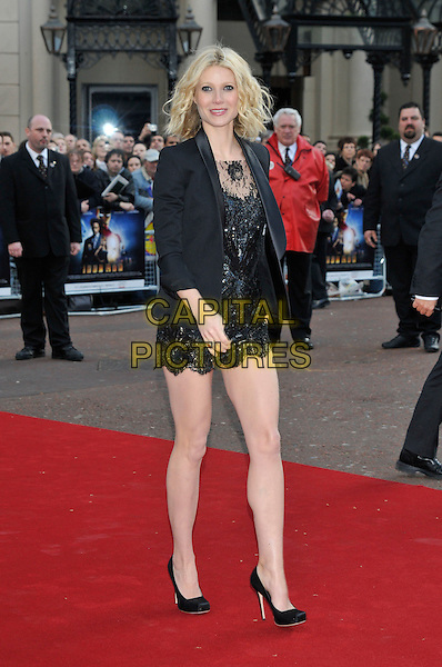 """GWYNETH PALTROW .Attending the UK Film Premiere of """"Iron Man"""" held at the Odeon Leicester Square, London, England, April 24th 2008..full length black lace mini dress jacket blazer shoes heels square toe.CAP/PL.©PL/Capital Pictures"""
