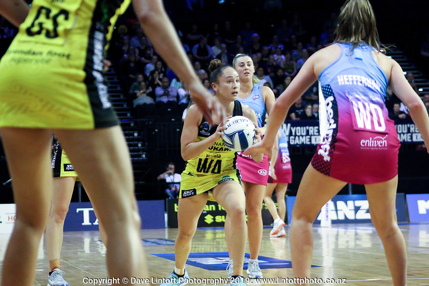 Whitney Souness in action during the ANZ Championship netball match between the Central Pulse and Southern Steel at TSB Bank Arena in Wellington, New Zealand on Monday, 25 March 2019. Photo: Mike Moran / lintottphoto.co.nz