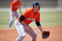 Miami Marlins Matt Juengel during a Minor League Spring Training game against the St. Louis Cardinals on March 26, 2018 at the Roger Dean Stadium Complex in Jupiter, Florida.  (Mike Janes/Four Seam Images)