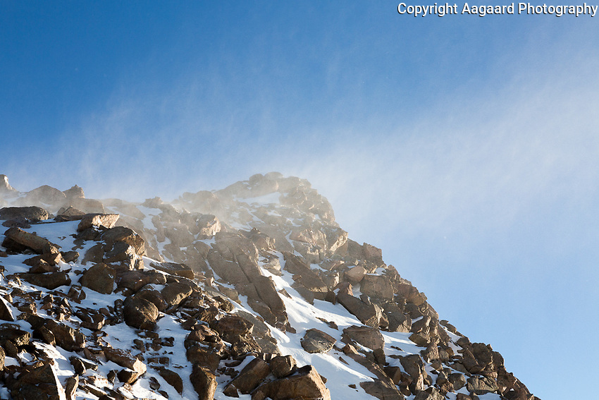 Blowing snow on Mt. Bierstadt's summit