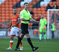 Referee Robert Jones and Blackpool's Jay Spearing<br /> <br /> Photographer Stephen White/CameraSport<br /> <br /> The EFL Sky Bet League One - Blackpool v Rochdale - Saturday 6th October 2018 - Bloomfield Road - Blackpool<br /> <br /> World Copyright © 2018 CameraSport. All rights reserved. 43 Linden Ave. Countesthorpe. Leicester. England. LE8 5PG - Tel: +44 (0) 116 277 4147 - admin@camerasport.com - www.camerasport.com