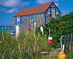 Cape Cod National Seashore, MA <br /> Restored fishing shack with decorative lobster buoys on the bach at Cape Cod near Truro