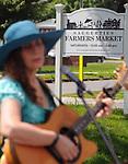 Volunteer musician,Marji Zintz, performing at the Saugerties Farmer's Market on Main Street in the Village of Saugerties, NY, on Saturday, June 10, 2017. Photo by Jim Peppler. Copyright/Jim Peppler-2017.