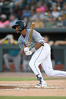 Right fielder Wagner Lagrange (23) of the Columbia Fireflies, playing as the Chicharrones de Columbia, bats in a game against the Charleston RiverDogs on Friday, July 12, 2019 at Segra Park in Columbia, South Carolina. The RiverDogs won, 4-3, in 10 innings. (Tom Priddy/Four Seam Images)