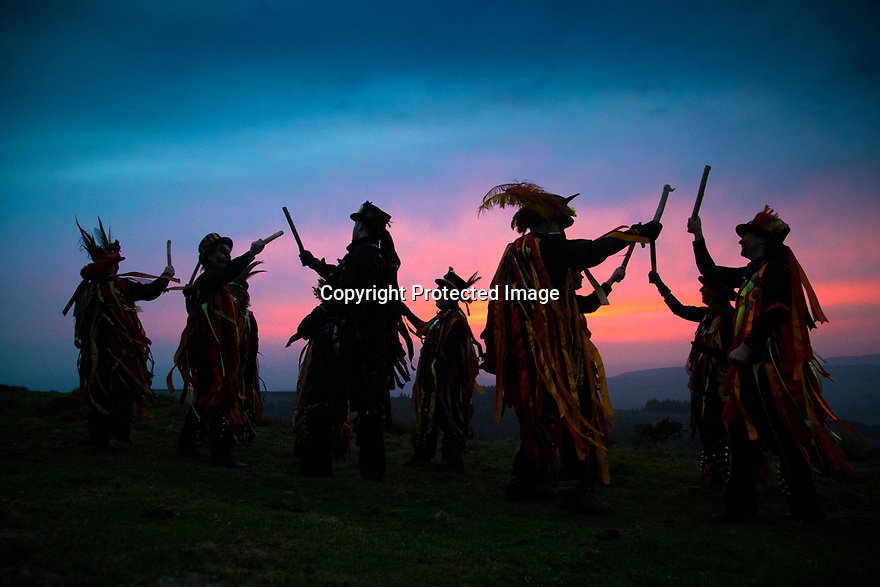 01/05/19<br /> <br /> Members of Powderkegs Morris 'dance-up-the-dawn' to greet the May Day sunrise on top of Windgather Rocks in the heart of the Peak District on the Derbyshire, Cheshire border.<br /> <br /> All Rights Reserved, F Stop Press Ltd +44 (0)7765 242650  www.fstoppress.com rod@fstoppress.com