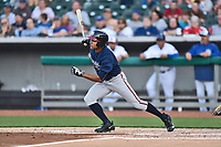 Mississippi Braves left fielder Jared James (19) swings at a pitch during a game against the Tennessee Smokies at Smokies Stadium on April 12, 2017 in Kodak, Tennessee. The Braves defeated the Smokies 6-2. (Tony Farlow/Four Seam Images)