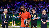 Rotterdam, The Netherlands, 17 Februari 2019, ABNAMRO World Tennis Tournament, Ahoy,  award ceremony, Winner Gael Monfils (FRA) with his speech and tournament director Richard Krajicek (M)  next to Krajicek runner up Stan Wawrinka (SUI)   and director of Ahoy Jolanda Jansen, left CEO of the ABNAMRO Bank Kees van Dijkhuizen <br /> Photo: www.tennisimages.com/Henk Koster