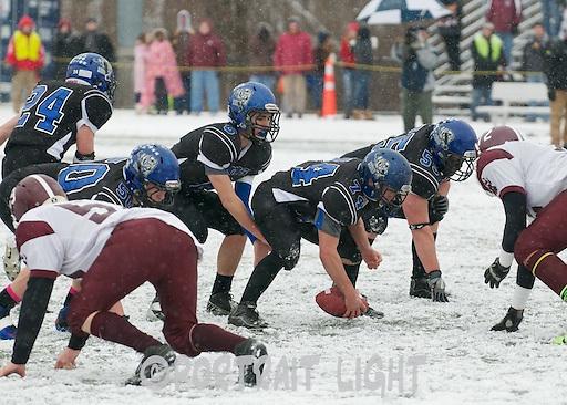 WBHS sophomore center Victor Green and senior quarterback Steven Gould, along with senior guards Matt Loureiro and Luke Fancy.