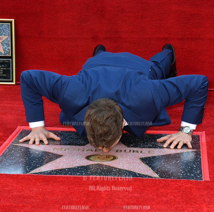 LOS ANGELES, CA. November 16, 2018: Michael Buble at the Hollywood Walk of Fame Star Ceremony honoring singer Michael Bubl&eacute;.<br /> Pictures: Paul Smith/Featureflash