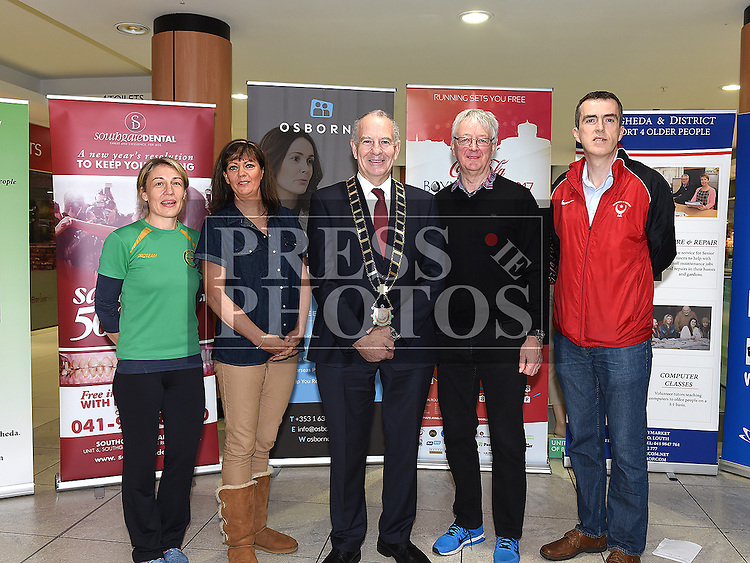 Rebecca Carolan Boyne AC, Siobhan Shortt Coca Cola, Mayor of Drogheda Oliver Tully, Dave Turner Drogheda and District Support For Older People and Declan Monaghan Drogheda and District AC at the launch of The Boyne 10K 2017 in The Laurence Centre. Photo:Colin Bell/pressphotos.ie