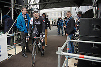 Fabian Cancellara (CHE/TrekFactoryRacing) riding off the start podium; ready to race!<br /> <br /> Ronde van Vlaanderen 2014