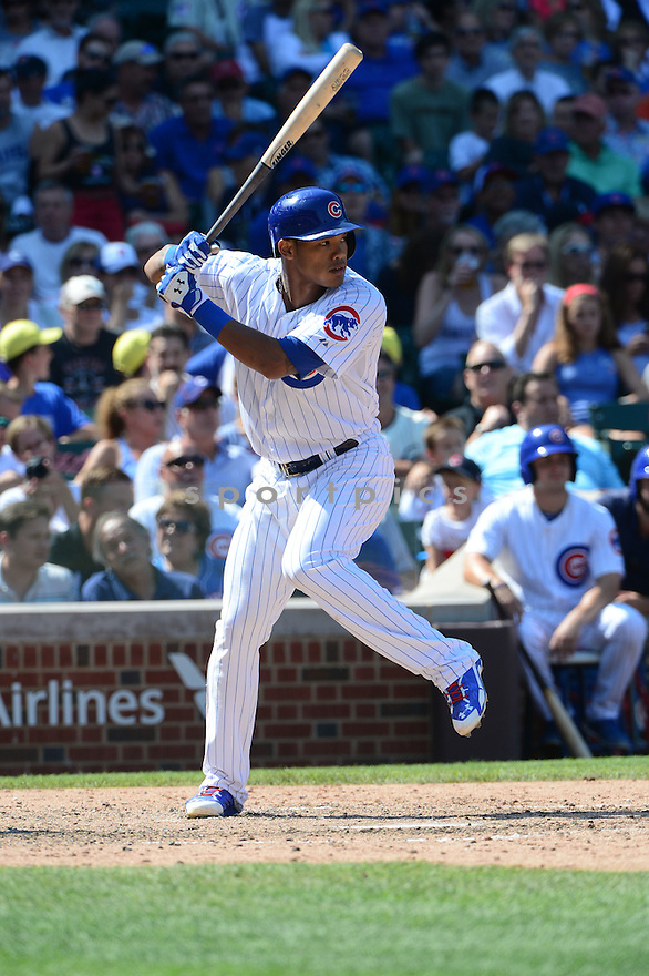 Chicago Cubs Addison Russell (22) during a game against the Atlanta Braves on August 23, 2015 at Wrigley Field in Chicago, IL. The Cubs beat the Braves 9-3.
