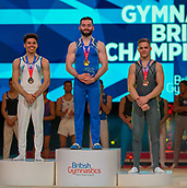 17th March 2019, M&S Arena, Liverpool, England; Gymnastics British Championships day 4;  Men's Artistic Masters Rings Final medallists L to R LEWIS Jamie, Woking Gymnastics Club, HALL James, Pegasus Gym Club, KARNEJENKO Pavel, Notts Gymnastics Academy