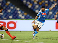 1st August 2020; Stadio San Paolo, Naples, Campania, Italy; Serie A Football, Napoli versus Lazio; Matteo Politano of Napoli shoots and scores his goal for 3-1 in the 90th minute