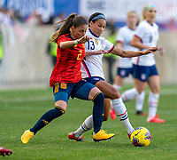 HARRISON, NJ - MARCH 08: Ona Batlle #2 of Spain fights for the ball with Lynn Williams #13 of the United States during a game between Spain and USWNT at Red Bull Arena on March 08, 2020 in Harrison, New Jersey.