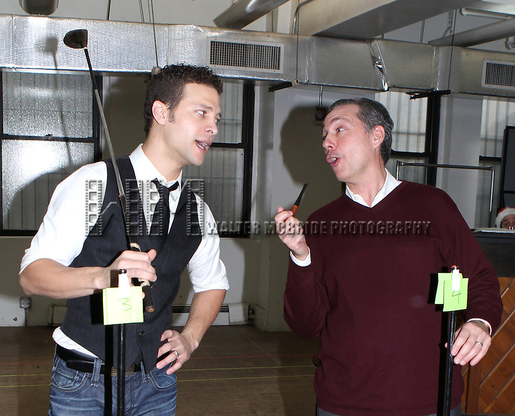Justin Guarini & Kevin Pariseau attending the Rehearsal for the Bucks County Playhouse production of 'It's a Wonderful Life - A Live Radio Play' at their rehearsal studios in New York City on December 5, 2012.