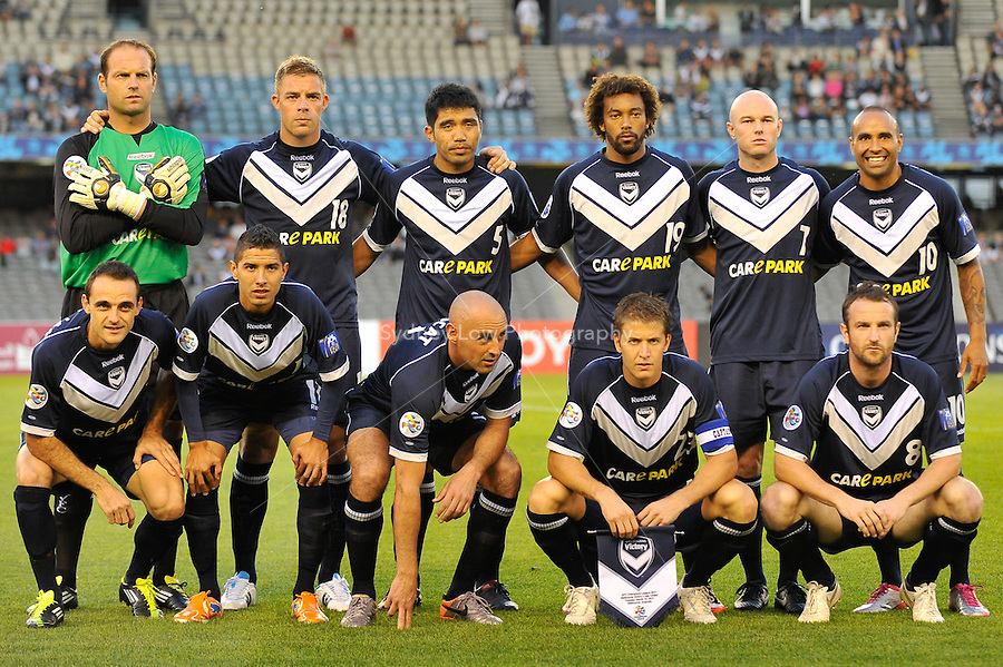 The Melbourne Victory team pose for their team photo during the AFC Champions League Group E match between the Melbourne Victory and Jeju United at Etihad Stadium in Melbourne, Australia.