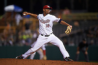 Tri-City ValleyCats pitcher Yeyfry Del Rosario (18) delivers a pitch during a game against the Brooklyn Cyclones on September 1, 2015 at Joseph L. Bruno Stadium in Troy, New York.  Tri-City defeated Brooklyn 5-4.  (Mike Janes/Four Seam Images)