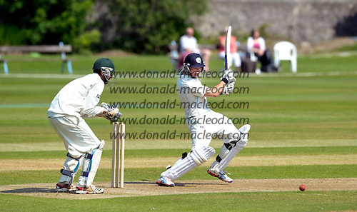 Cricket - Scotland V Kenya - Intercontinental Cup Day 1 - Aberdeen - Scotland bat Richie Berrington hits out going on to make 62 - picture by Donald MacLeod - 07.07.13 – 07702 319 738 – clanmacleod@btinternet.com – www.donald-macleod.com