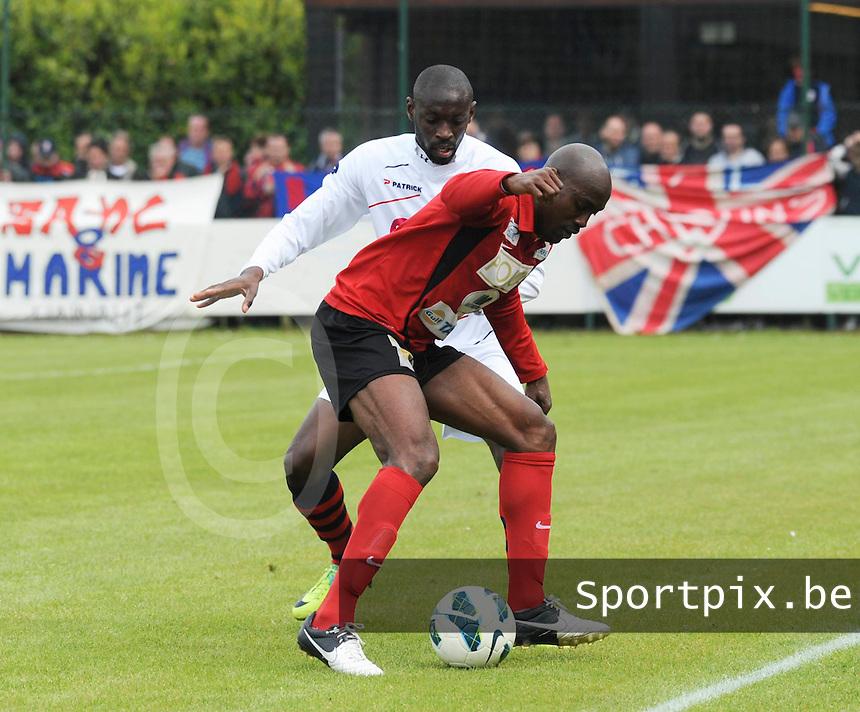 Izegem - FC Luik :....duel tussen Serge Djamba Shango (L) en Aboubacar Fofana (R)..foto VDB / BART VANDENBROUCKE