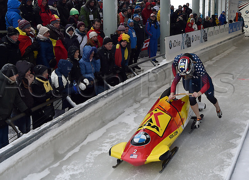 13.01.2017. Winterberg, Germany.  American bobsleighers Jamie Greubel Poser (R) and Aja Evans in action at the Bobsleighing World Cup in Winterberg, Germany, 13 January 2017.