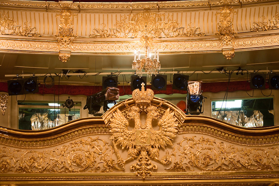 Moscow, Russia, 08/10/2011..The imperial Russian symbol of a double-headed eagle on top of the Tsar's Box in the Bolshoi Theatre during a press tour showcasing the almost completed renovation work. The building has been closed for repairs since 2005 and is scheduled to reopen on October 28th 2011.